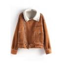Plain Lapel Button Zippers Long Sleeve Belt Hem Woolen Coat