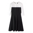 Black-White Color Block Round Neck Zip Back 3/4 Length Sleeve A-Line Dress