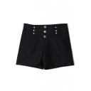 Plain High Waist Button Fly Hotpant Shorts