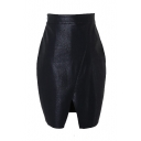 Zip Side Black PU Split Hem Wrap Mini Skirt
