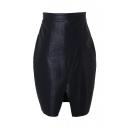 Zip Side Black PU Split Hem Wrap Mini Skirt