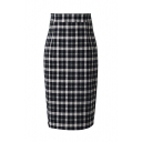 Classic Plaid Zipper Back Pencil Skirt