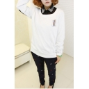 Card Print Round Neck Long Sleeve Sweatshirt