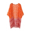 Orange V-Neck Batwing Sleeve Open Front Kimono