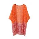 Orange V-Neck Batwing Sleeve Open Front Kimono