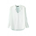 White V-Neck Long Sleeve Hollow Shoulder Shirt
