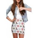 Cartoon Print Elastic Waist Mini Wrap Skirt