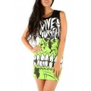 Monster Print Elastic High Waist Mini Wrap Skirt