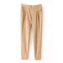 Plain Pleated Pocket Elastic Waist Pants
