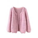 Plain Mohair Round Neck Open Front Long Sleeve Knit Cardigan