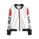Stand Collar Color Block Long Sleeve Zip Coat