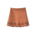 Plain Zip Side Hollow Hem Mini A-Line Skirt