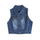 Lapel Single-Breasted Sleeveless Crop Denim Jacket
