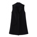 Plain Single Breasted Lapel Sleeveless Vest