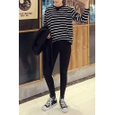 Round Neck Long Sleeve Stripe Tee