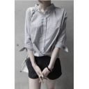 Gray Stand Up Collar Asymmetrical Hem Single Breasted Shirt