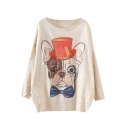 Clever Dog Scoop Neck Long Sleeve Sweater