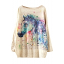 Colorful Horse Head Print Scoop Neck Long Sleeve Sweate