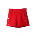 Plain Button Detail High Elastic Waist Hotpant Shorts