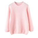Hollow Round Neck Long Sleeve Beaded Plain Sweater