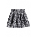 Plaid Print Elastic Waist Ruffle Hem Pleated Mini Skirt