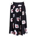 Floral Print Zip Side Chiffon Pleated Maxi Skirt