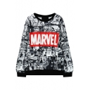 Cartoon Print Round Neck Black Trim Long Sleeve Sweatshirt
