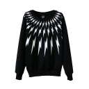Lightening Print Round Neck Long Sleeve Sweatshirt