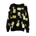 Simpson Print Round Neck Long Sleeve Sweatshirt