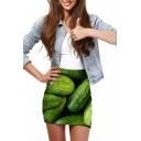 Fresh Cucumber Print Elastic Waist Mini Wrap Skirt
