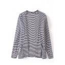 Stripe Open Front Long Sleeve Double Pocket Coat