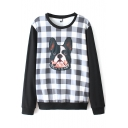 Dog Head Applique Plaid Round Neck Long Sleeve Sweatshirt