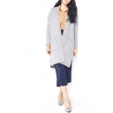 Gray V-Neck Open Front Double Pocket Long Sleeve Split Hem Cardigan