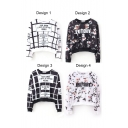 Floral Letter Plaid Print Round Neck Long Sleeve Sweatshirt