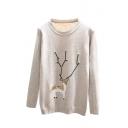 Cute Deer Print Beaded Round Neck Long Sleeve Sweater