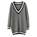 Stripe V-Neck Long Sleeve Longline Pullover Sweater
