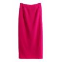 Plain Zip Back Slit Back Midi Tube Skirt