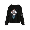 Flower and Letter Print Round Neck Long Sleeve Sweatshirt