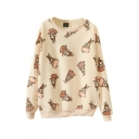 Rabbit Print Round Neck Long Sleeve Sweatshirt