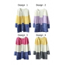 Color Block Round Neck Double Pocket Long Sleeve Open Front Cardigan