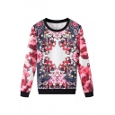 Gorgeous Roses Print Long Sleeve Round Neck Sweatshirt