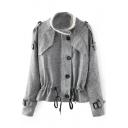 Stand Knit Collar Single Breasted Long Sleeve Drawstring Waist Coat