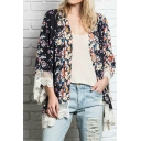 Gorgeous Floral Print V-Neck Lace Crochet Hem Long Sleeve Kimono