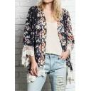 Gorgeous Floral Print V-Neck Lace Crochet Hem Long Sleeve Kimono