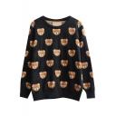 Cartoon Bear Pattern Round Neck Long Sleeve Sweater