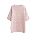 Round Neck 3/4 Length Sleeve Plain Knit Sweater