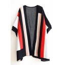 Tribal Stripe Batwing Sleeve Open Front Cardigan