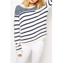 Stripe Color Block Round Neck Long Sleeve Pullover Sweater