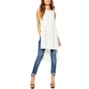 White Round Neck Sleeveless Tie Split Side Tee