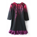 Crew Neck Abstract Print 3/4 Length Sleeve Ruffle Hem Shift Dress